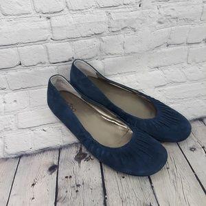 Me Too Nini Leather Blue Flats Size 9m